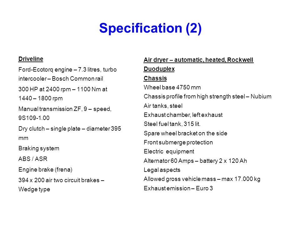 Specification (2) Driveline