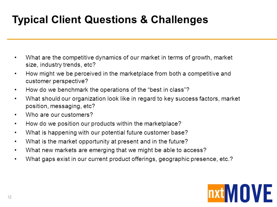 Typical Client Questions & Challenges