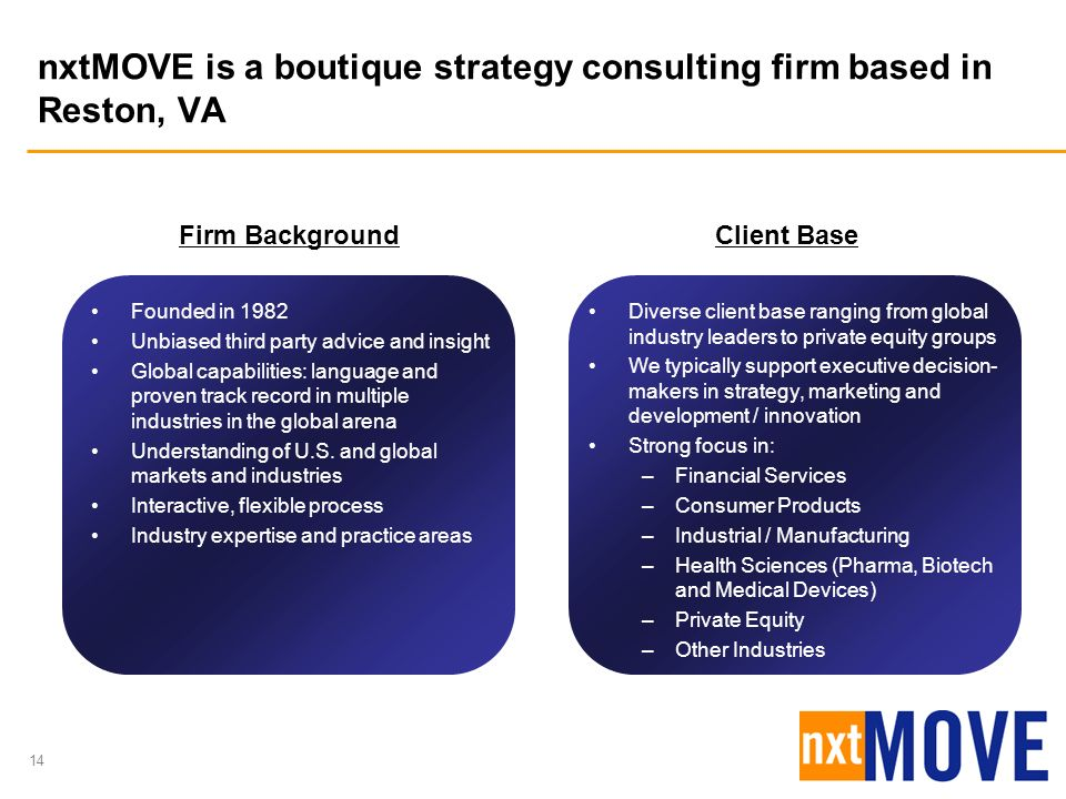 nxtMOVE is a boutique strategy consulting firm based in Reston, VA
