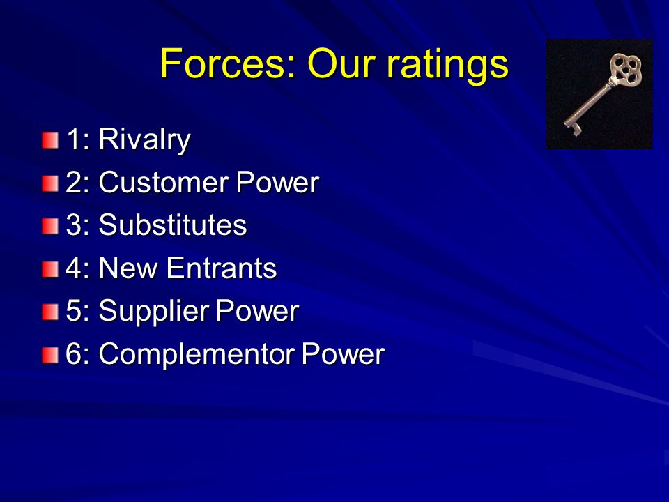 Forces: Our ratings 1: Rivalry 2: Customer Power 3: Substitutes