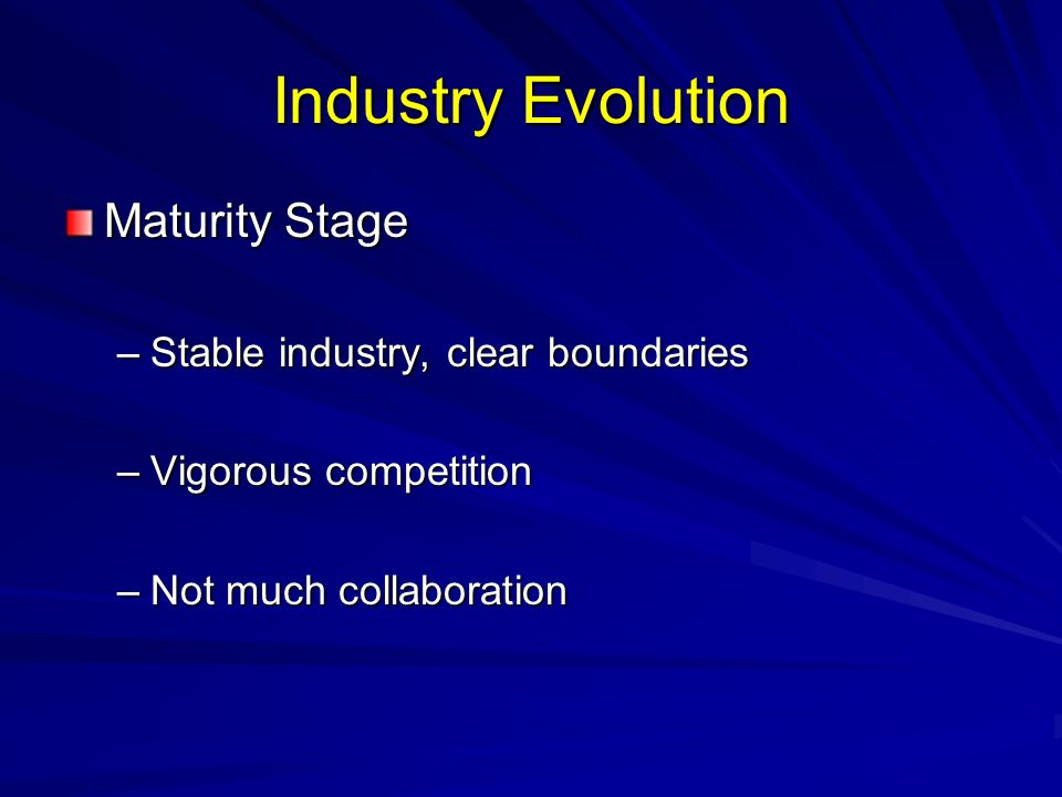 Industry Evolution Maturity Stage Stable industry, clear boundaries