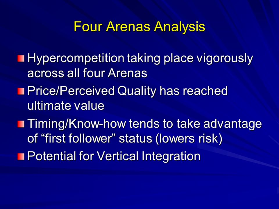 Four Arenas Analysis Hypercompetition taking place vigorously across all four Arenas. Price/Perceived Quality has reached ultimate value.