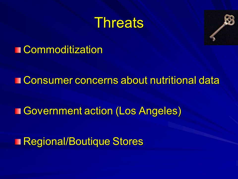 Threats Commoditization Consumer concerns about nutritional data