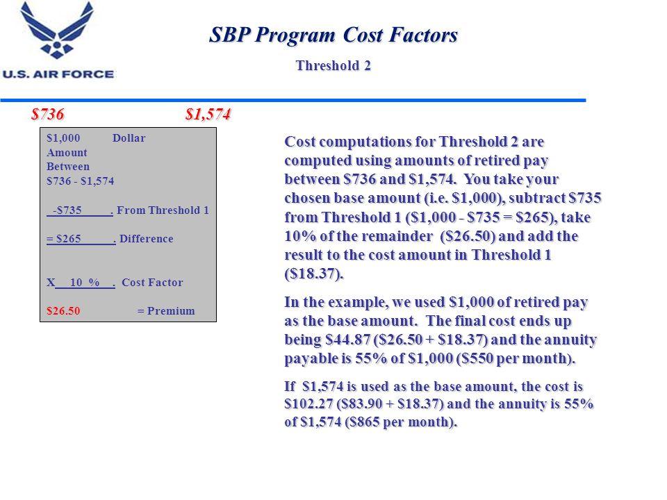 SBP Program Cost Factors