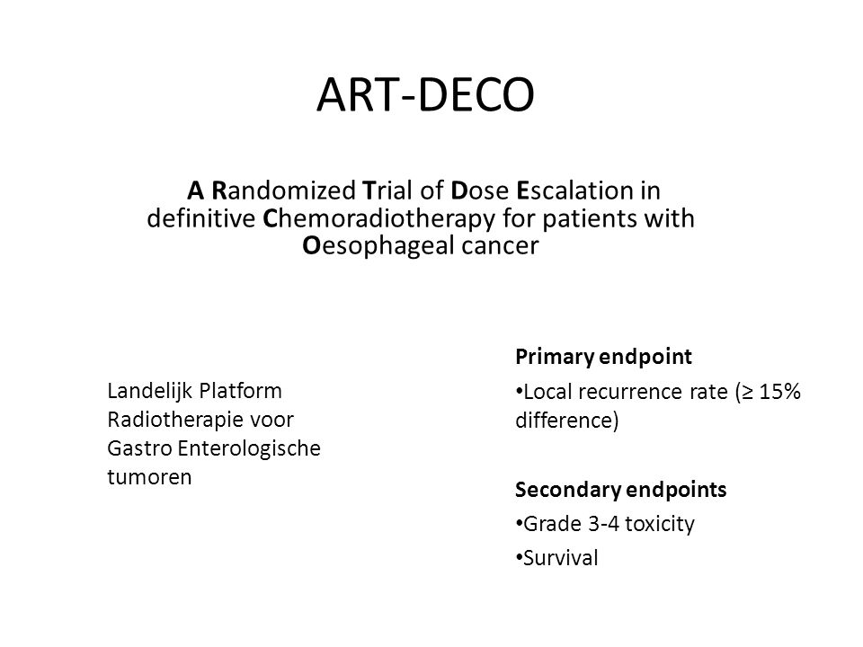 ART-DECO A Randomized Trial of Dose Escalation in definitive Chemoradiotherapy for patients with Oesophageal cancer.