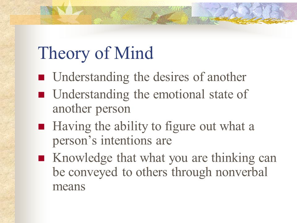 Theory of Mind Understanding the desires of another