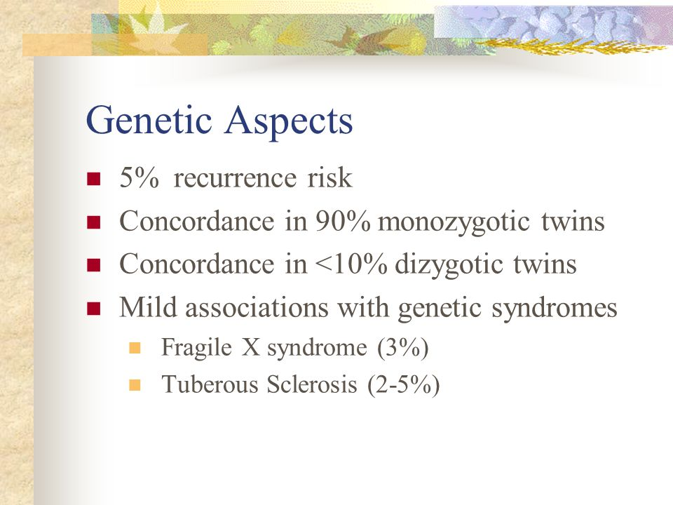 Genetic Aspects 5% recurrence risk