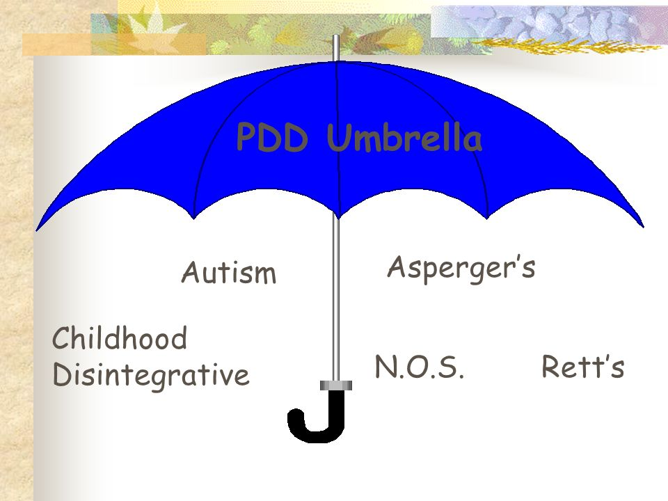PDD Umbrella Asperger's Autism Childhood Disintegrative N.O.S. Rett's