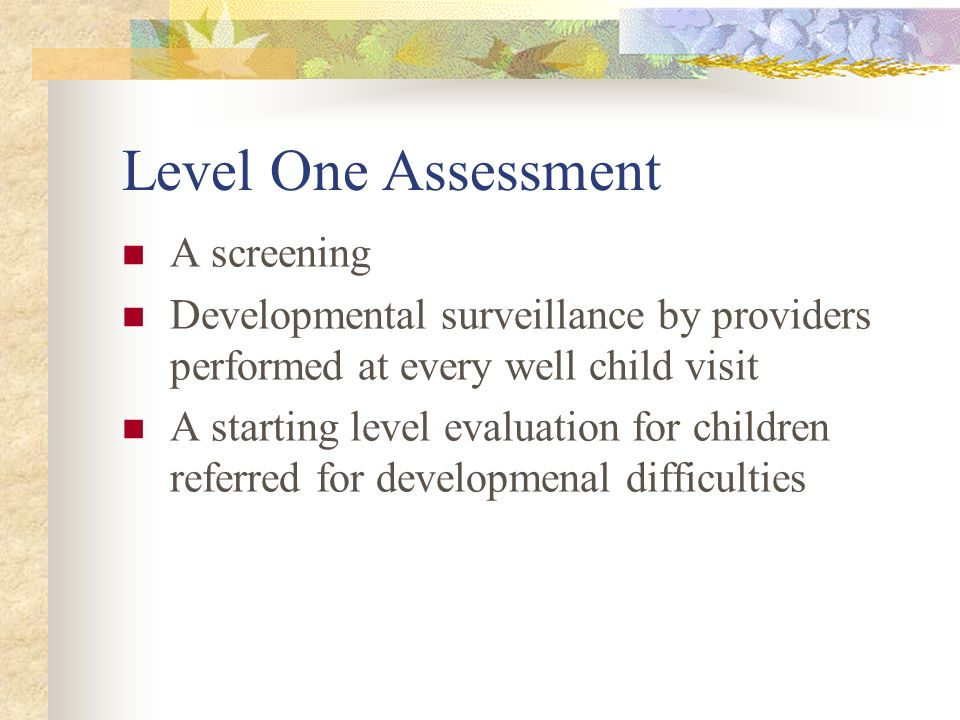 Level One Assessment A screening