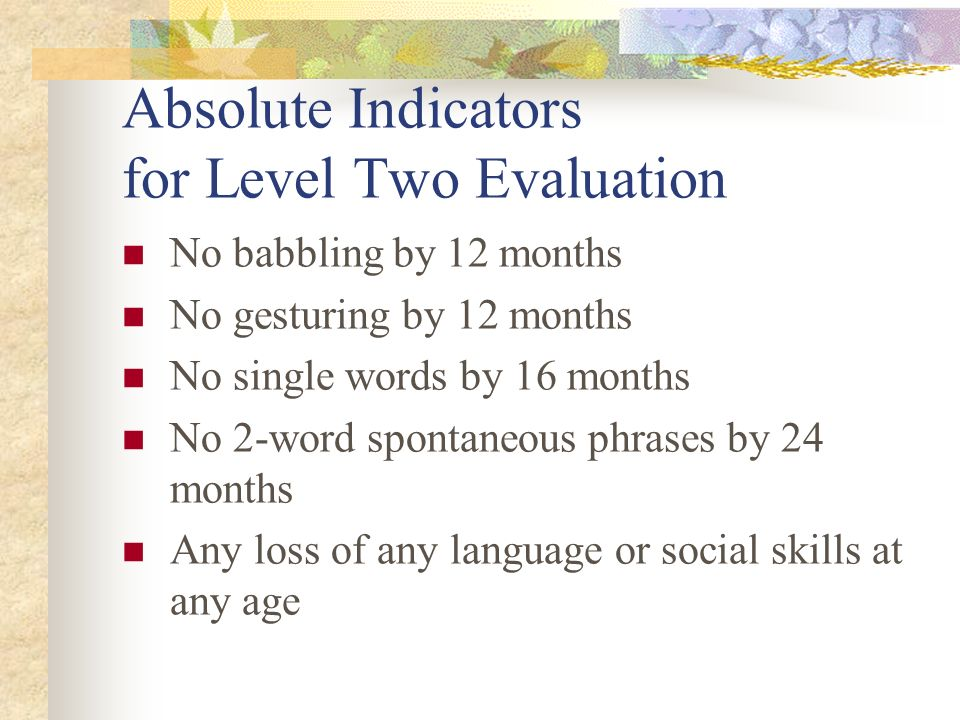Absolute Indicators for Level Two Evaluation