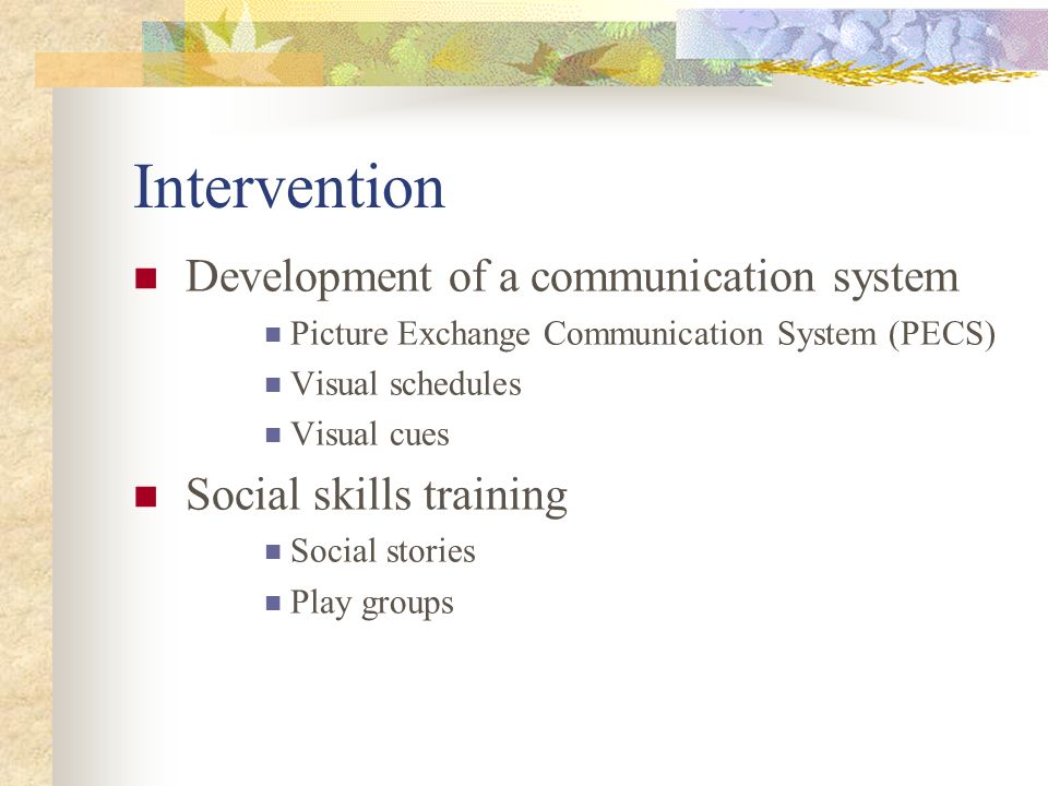 Intervention Development of a communication system