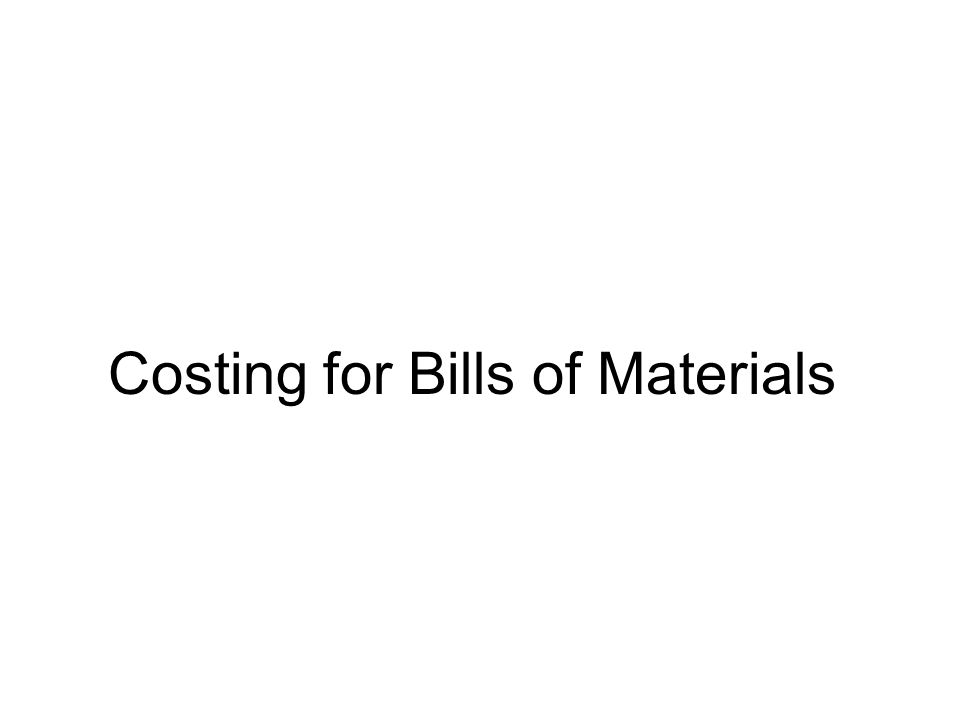Costing for Bills of Materials