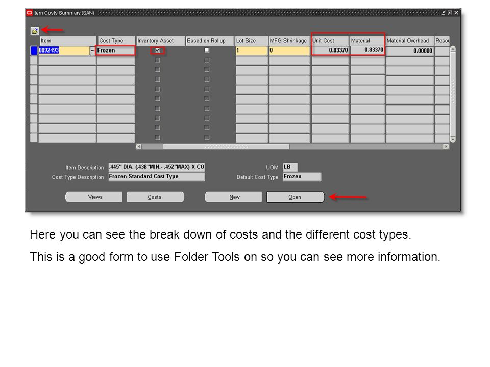 Here you can see the break down of costs and the different cost types.