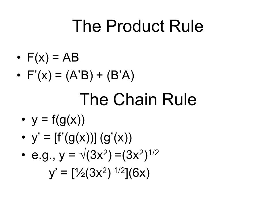 The Product Rule The Chain Rule F(x) = AB F'(x) = (A'B) + (B'A)