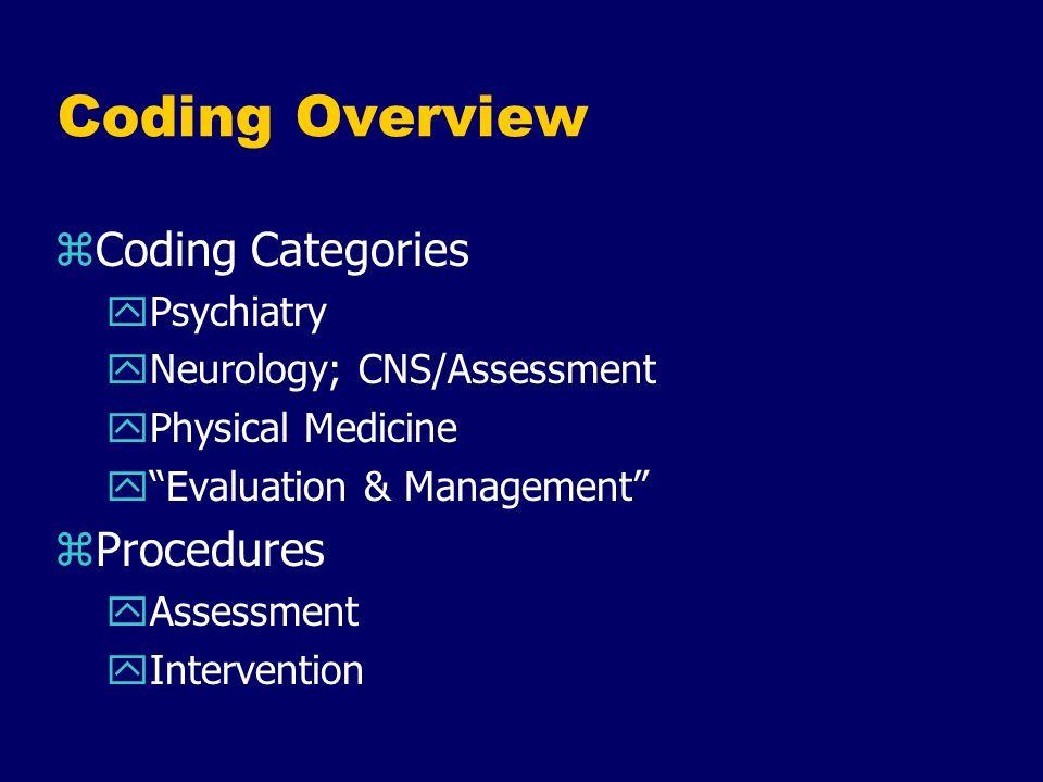 Coding Overview Coding Categories Procedures Psychiatry