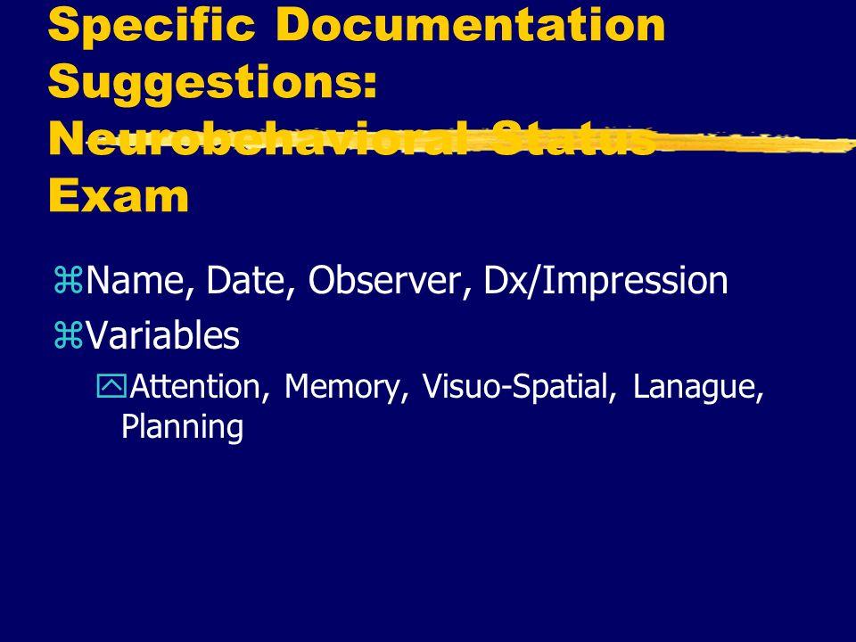 Specific Documentation Suggestions: Neurobehavioral Status Exam