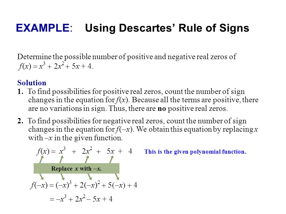 EXAMPLE: Using Descartes' Rule of Signs