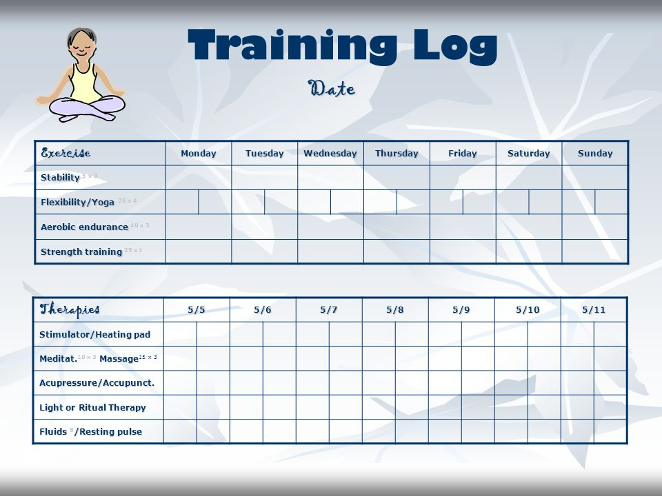 Training Log Date Exercise Therapies Monday Tuesday Wednesday Thursday