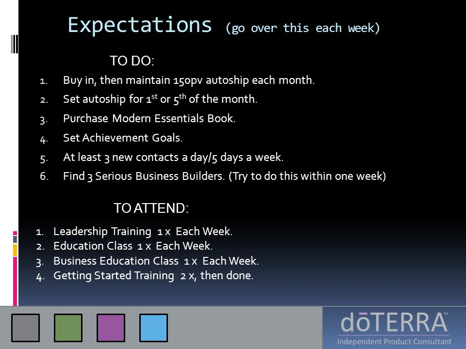Expectations (go over this each week)