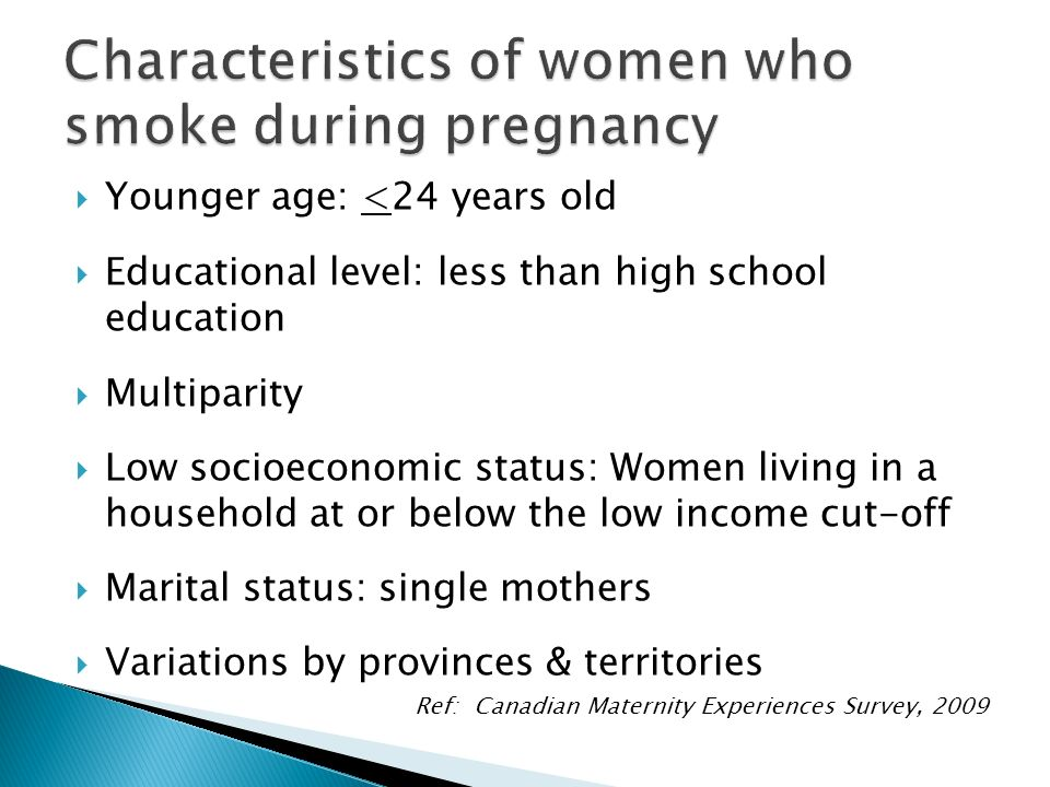Characteristics of women who smoke during pregnancy