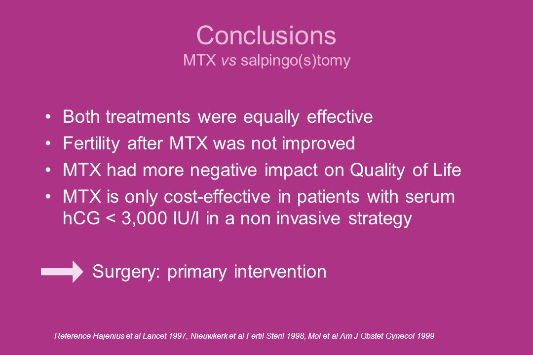 Conclusions MTX vs salpingo(s)tomy