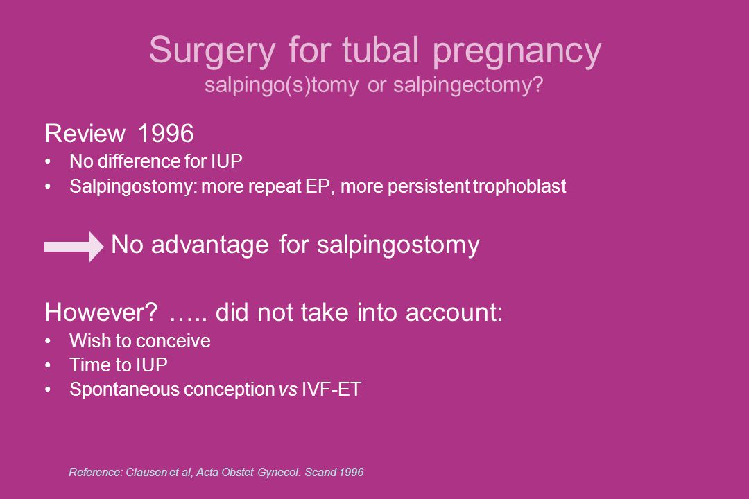 Surgery for tubal pregnancy salpingo(s)tomy or salpingectomy