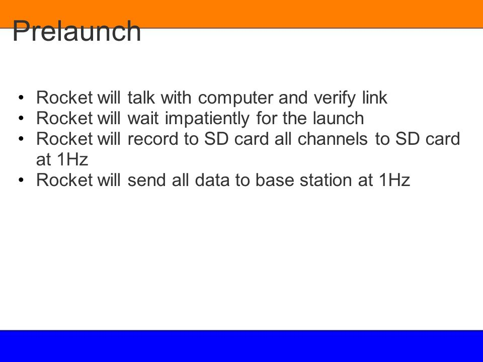 Prelaunch Rocket will talk with computer and verify link
