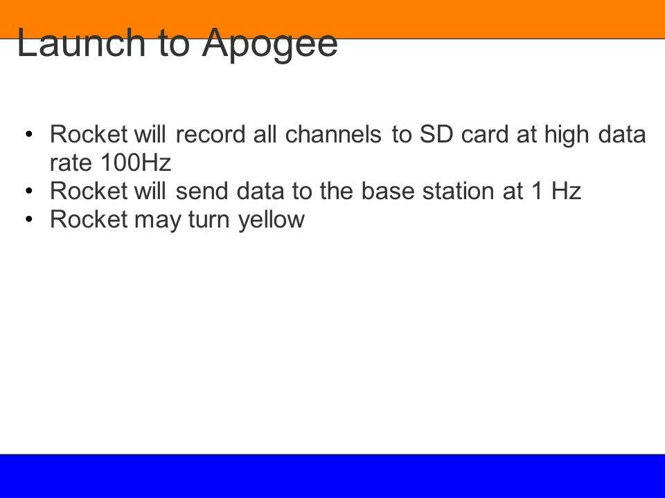 Launch to Apogee Rocket will record all channels to SD card at high data rate 100Hz. Rocket will send data to the base station at 1 Hz.