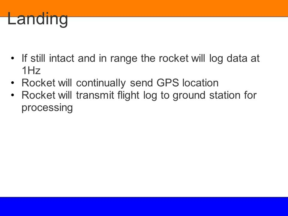Landing If still intact and in range the rocket will log data at 1Hz