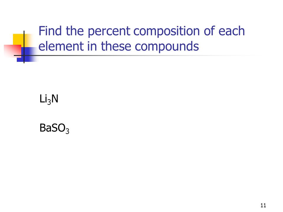 Find the percent composition of each element in these compounds