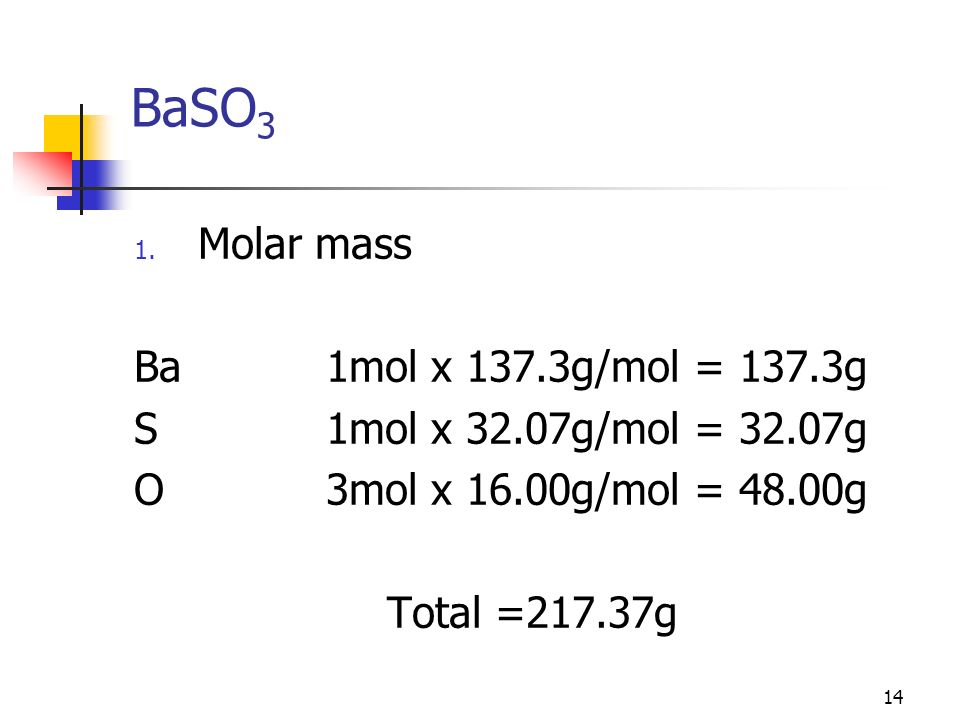 BaSO3 Molar mass Ba 1mol x 137.3g/mol = 137.3g