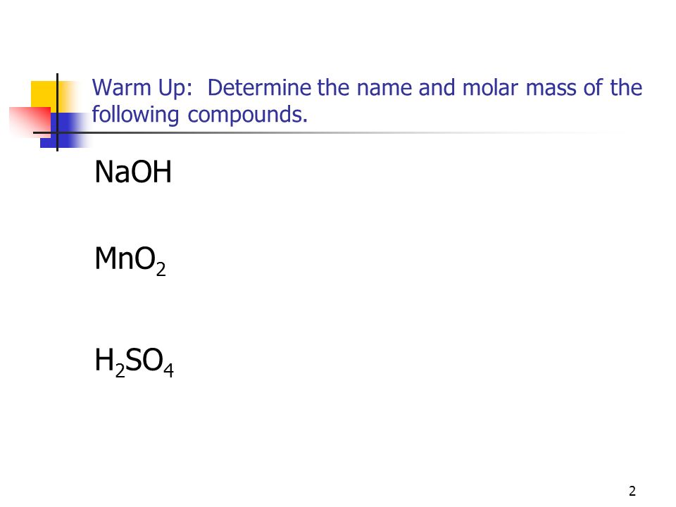 Warm Up: Determine the name and molar mass of the following compounds.