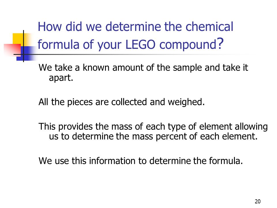 How did we determine the chemical formula of your LEGO compound