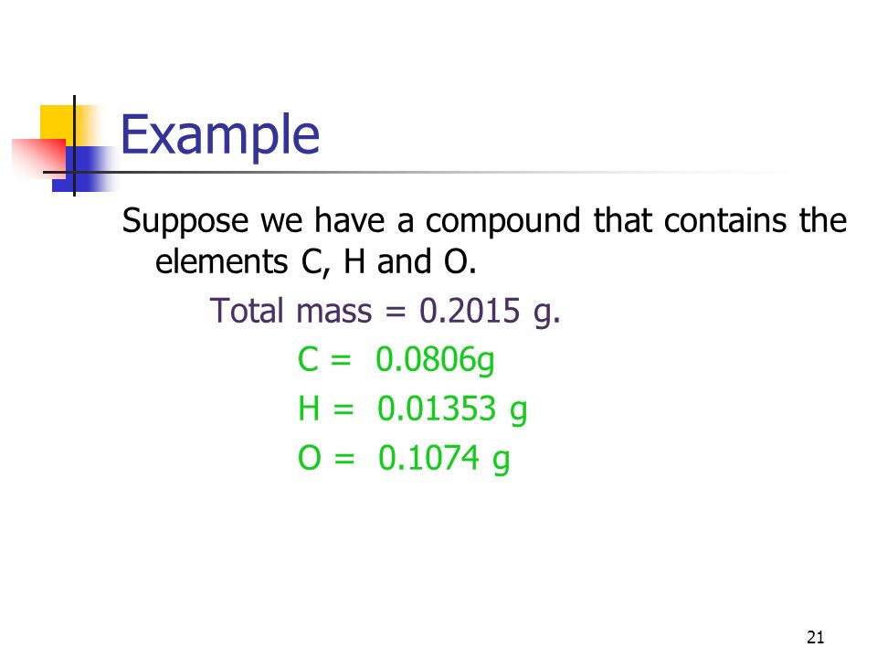 Example Suppose we have a compound that contains the elements C, H and O. Total mass = 0.2015 g. C = 0.0806g.