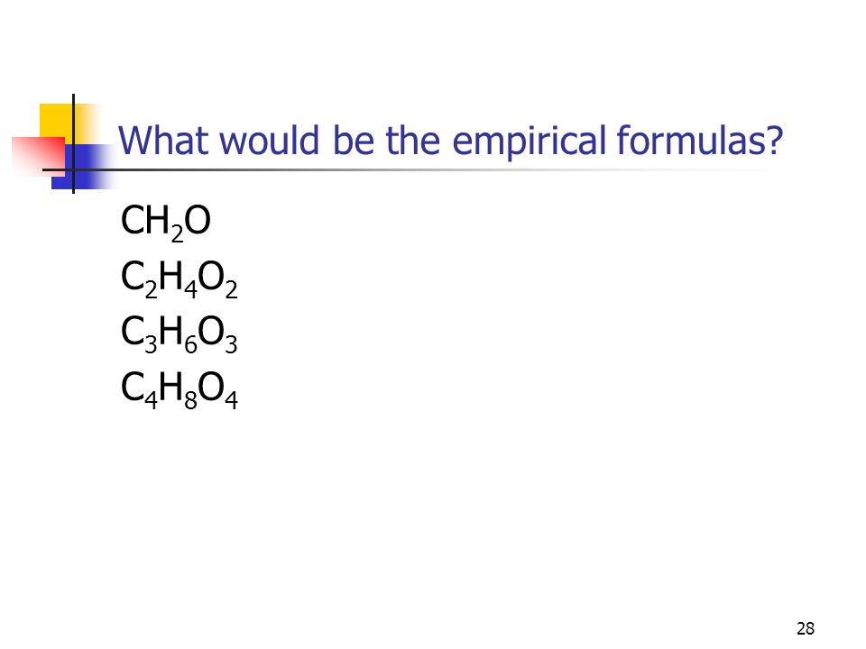 What would be the empirical formulas