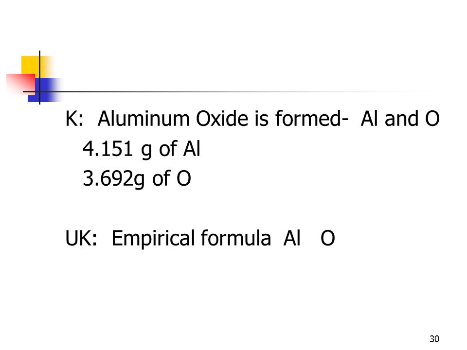 K: Aluminum Oxide is formed- Al and O