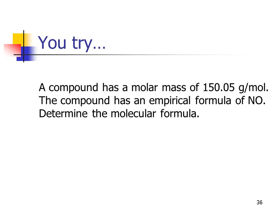 You try… A compound has a molar mass of g/mol.