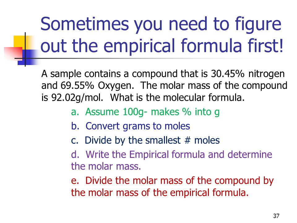 Sometimes you need to figure out the empirical formula first!