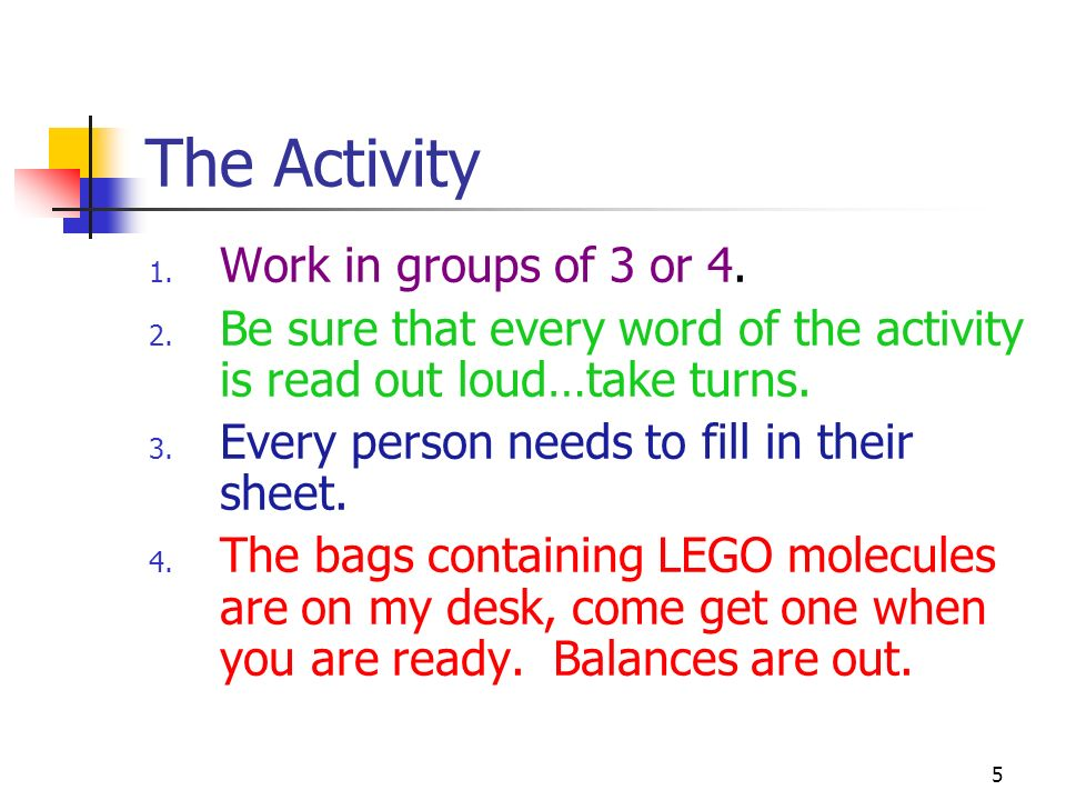 The Activity Work in groups of 3 or 4.
