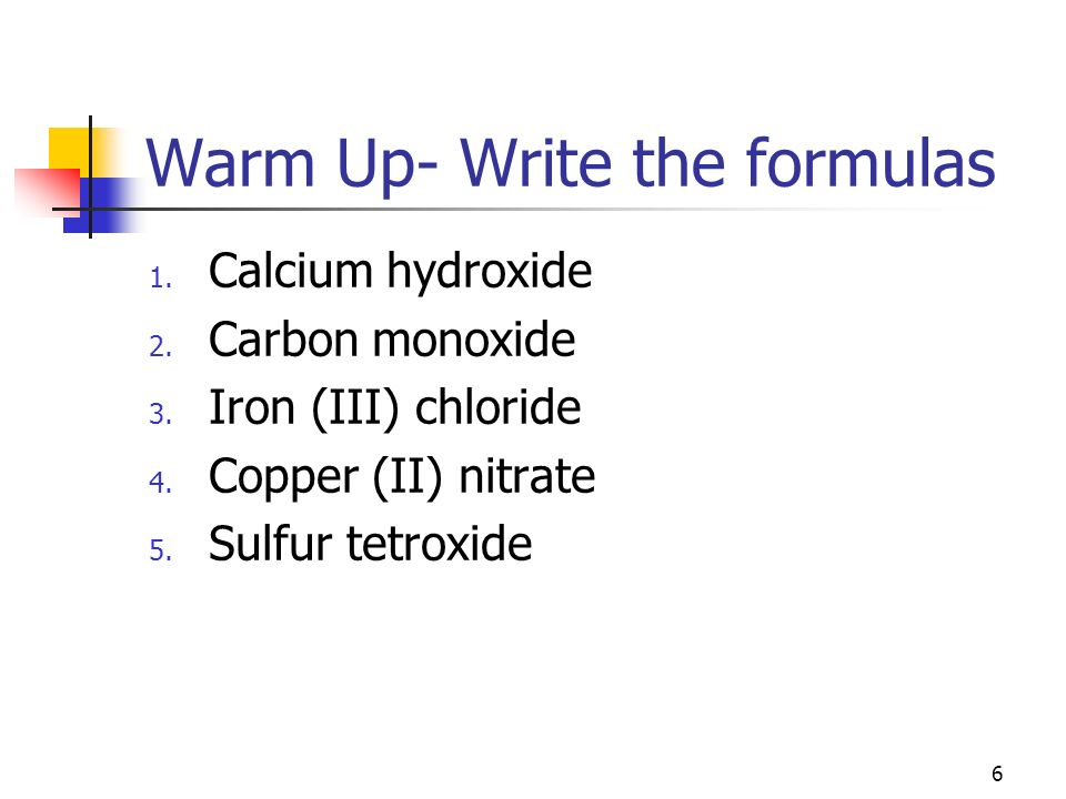 Warm Up- Write the formulas