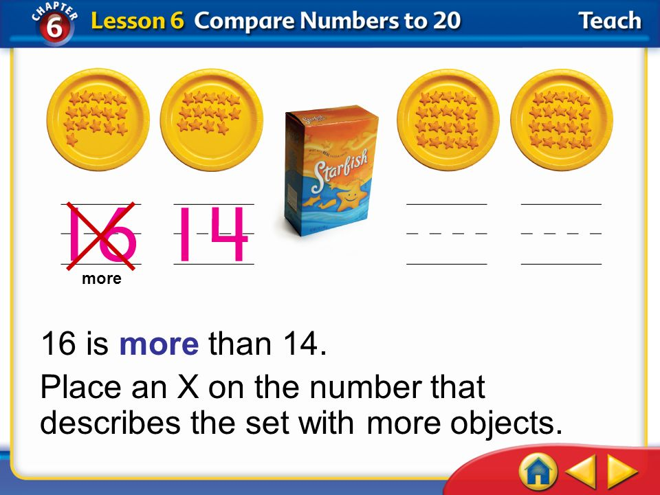 Place an X on the number that describes the set with more objects.