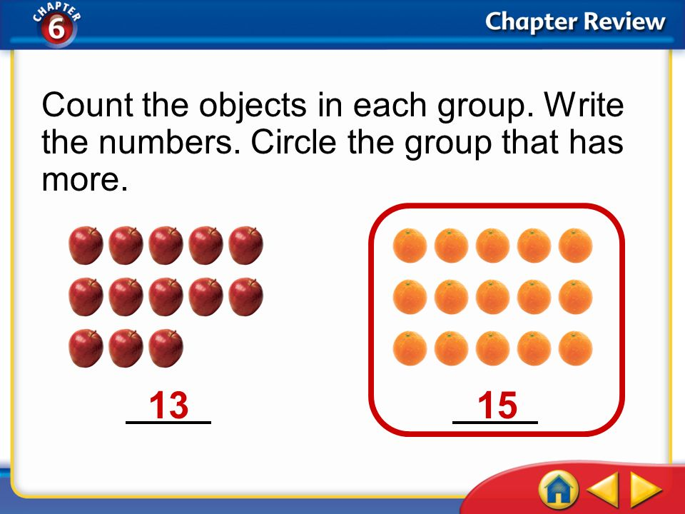 Count the objects in each group. Write the numbers