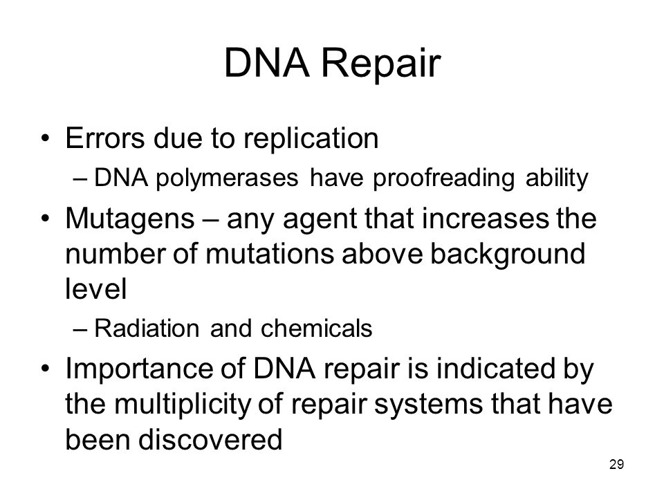 DNA Repair Errors due to replication