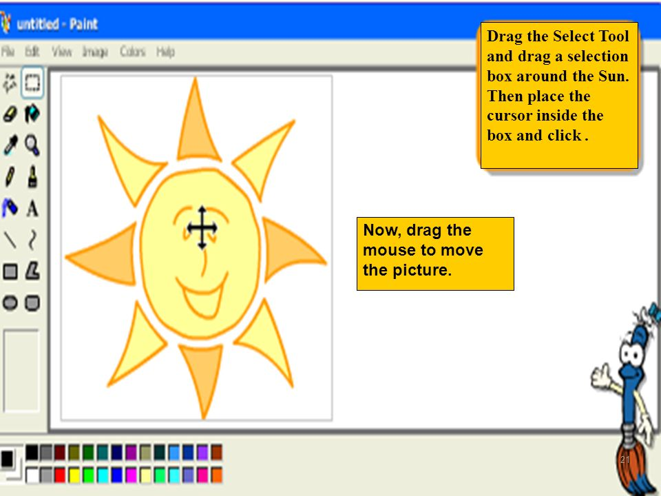 Drag the Select Tool and drag a selection box around the Sun.
