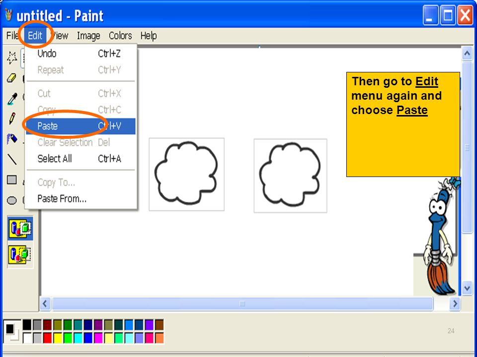 Then go to Edit menu again and choose Paste