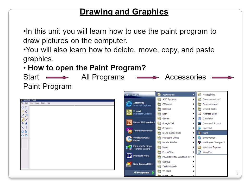 Drawing and Graphics In this unit you will learn how to use the paint program to draw pictures on the computer.