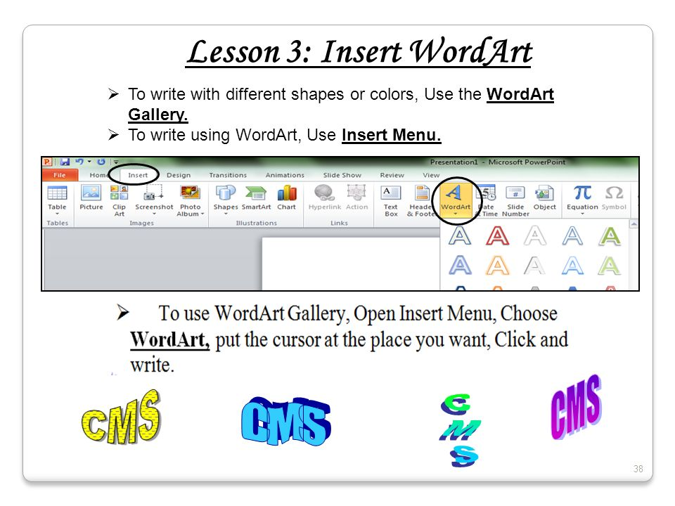 Lesson 3: Insert WordArt