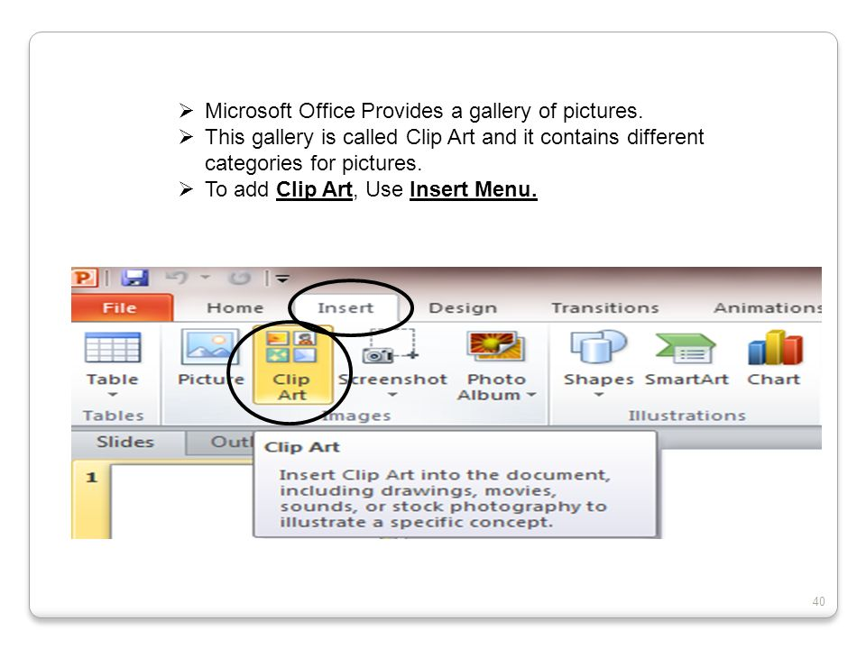 Microsoft Office Provides a gallery of pictures.