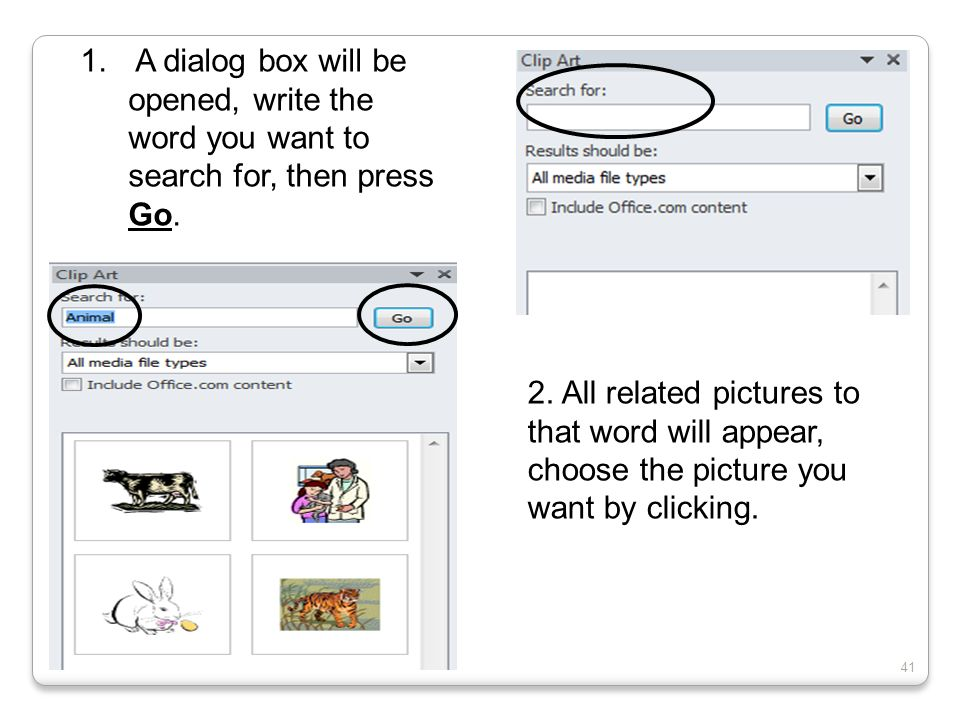 A dialog box will be opened, write the word you want to search for, then press Go.