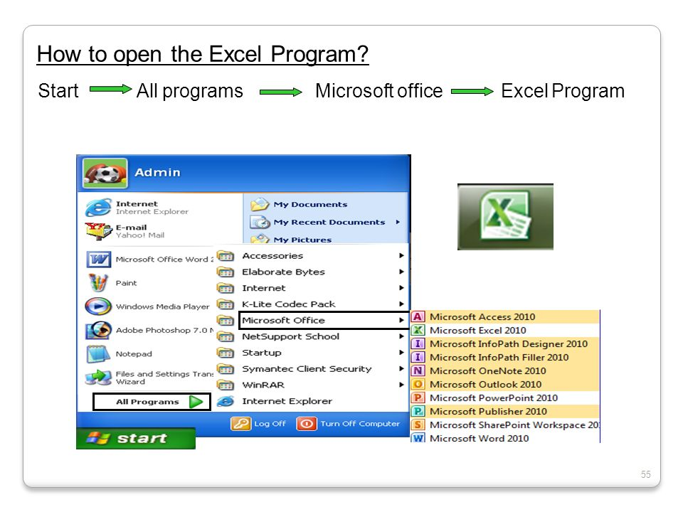 How to open the Excel Program